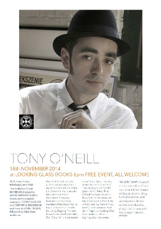 The flyer about Tony O'Neill's talk in Edinburgh - click to download the flyer as a PDF.'