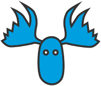 The Bluemoose Books logo (a drawing of the head of a blue moose)